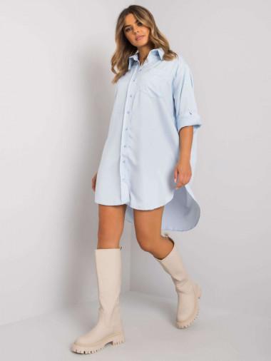 Jasnoniebieska długa koszula z bawełny