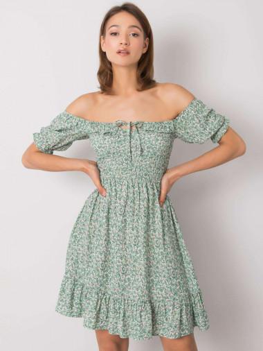 RUE PARIS Zielona sukienka we wzory z falbaną
