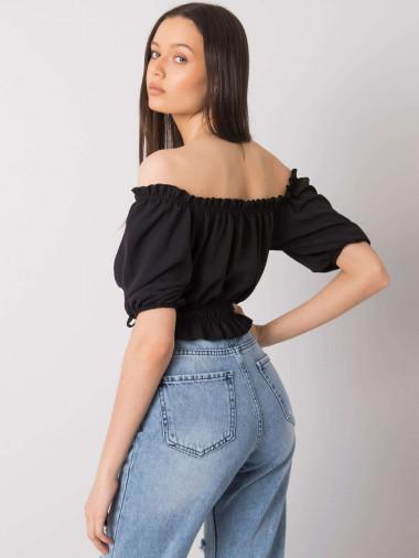 RUE PARIS Czarna krótka bluzka